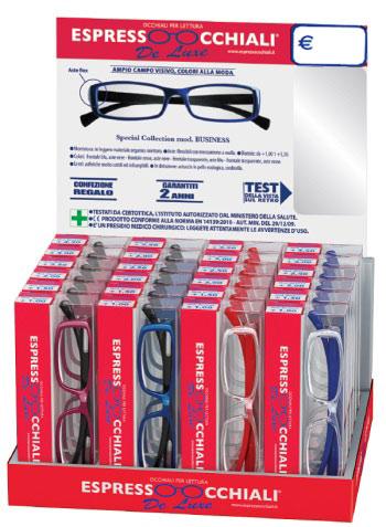 occhiali da lettura linea De Luxe mod.Business espressoocchiali, la confezione espositore da banco contiene 24 occhiali. Forniture per tabaccherie, tabaccai, supermercati, aree di servizio.