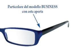 Particolare del modello di occhiali da lettura BUSINESS con asta aperta