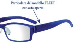 Particolare del modello di occhiali da lettura Fleet dal peso di soli 9 grammi