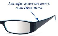 Dettaglio occhiali da lettura Prestige5: le aste sono larghe come la moda propone e le aste sono bicolore.