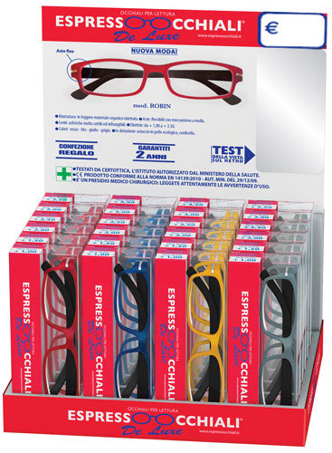 occhiali da lettura linea De Luxe mod.Robin di Espressoocchiali, la confezione espositore da banco contiene 24 occhiali per lettura e risulta molto efficace nell'incentivare la vendita. Forniture per tabaccherie, tabaccai, supermercati, ipermercati, aree di servizio.