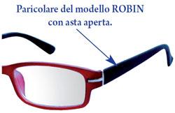 Dettaglio occhiali da lettura Robin le aste sono di colore nero ed hanno l'effetto gomma.
