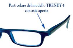 Dettaglio dell asta aperta degli occhiali da lettura Trendy4