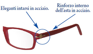 Dettaglio dell asta aperta degli occhiali da lettura Velvet2, con preziosi intarsi in acciaio e rinforzo interno dell'asta in acciaio
