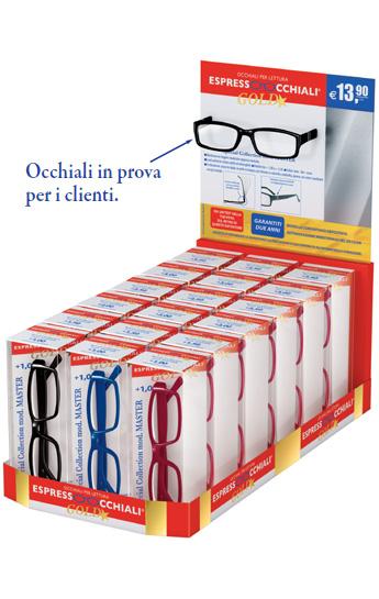 Occhiali da lettura gold espressoocchiali il nuovo espositore da 18 occhiali per leggere con - Occhiali per truccarsi allo specchio ...